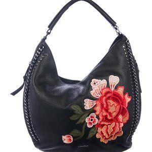 Calvin Klein Black Pebble Leather Hobo Slouchy Bag
